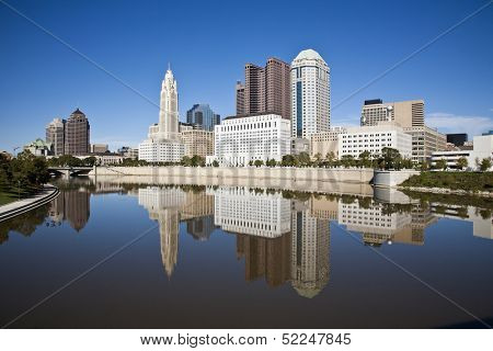 Columbus, Ohio skyline reflected in the Scioto River.  Columbus is the capital of Ohio