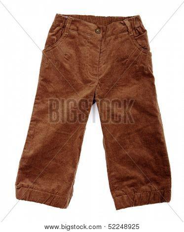 Broun pants on a white background