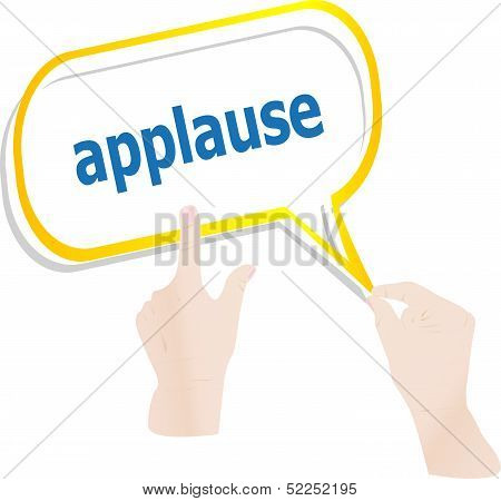 Hands Holding Abstract Cloud With Applause Word