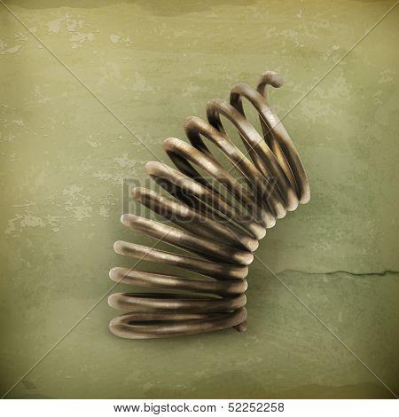 Elastic metal spring, old style vector