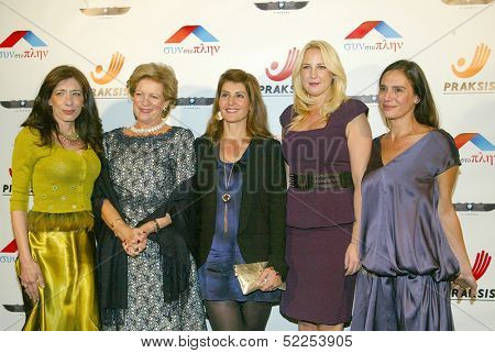 HOLLYWOOD -  Princess Theodora, Queen Anne-Marie of Greece, Nia Vardalos and gala chairpersons at the Philhellenes Gala at the SkyBar on Oct. 9, 2013 at the Mondrian Los Angeles, West Hollywood, CA.