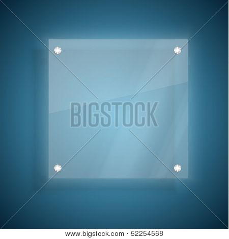 Abstract glass plate on blue background
