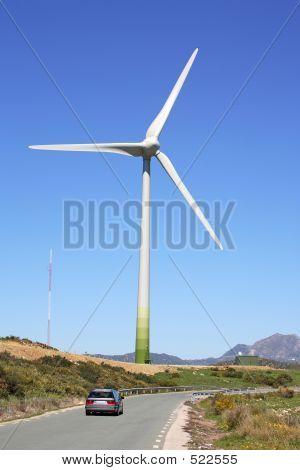 Huge Sail Of Wind Farm Generator In Spain