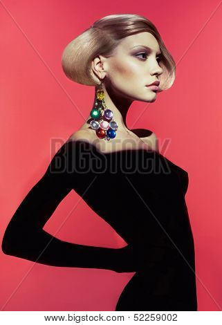 Fashion art photo of beautiful lady with stylish hairdo