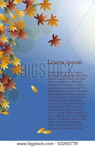 blue background with brown leaves