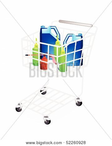 Different Types Of Engine Oil Packaging In Shopping Cart