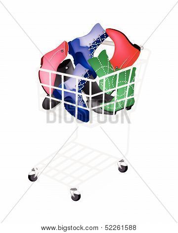 Differrent Style Of Women Shoes In Shopping Cart