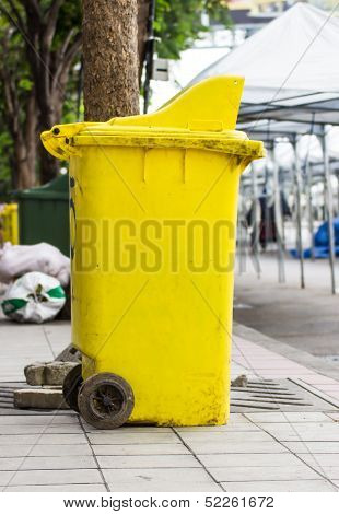 Yellow Rubbish Bin