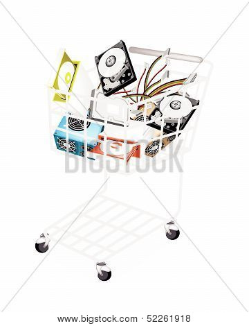 Set Of Hardware Computer In Shopping Cart