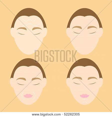 Woman Face Wrinkle Problems On Orange Background