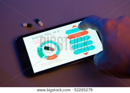 Hand choosing pill type on high-tech device, futuristic medicine concept, hand drawn interface