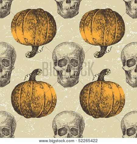 Halloween seamless with hand drawn sculls and pumpkins