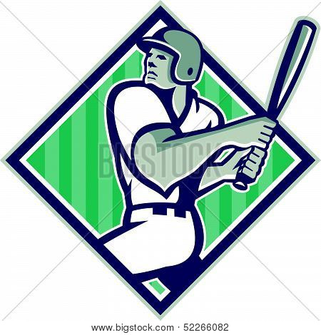 Baseball Hitter Batting Diamond Retro