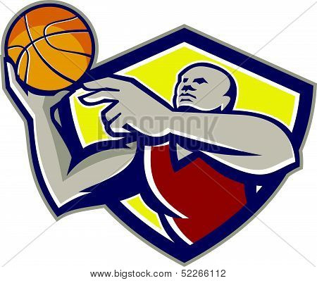 Basketball Player Laying Up Ball Retro
