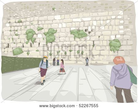 Illustration Featuring Tourists Roaming Around the Wailing Wall in Israel