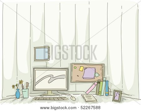 Watercolor Illustration Featuring the Workstation of a Home-based Worker