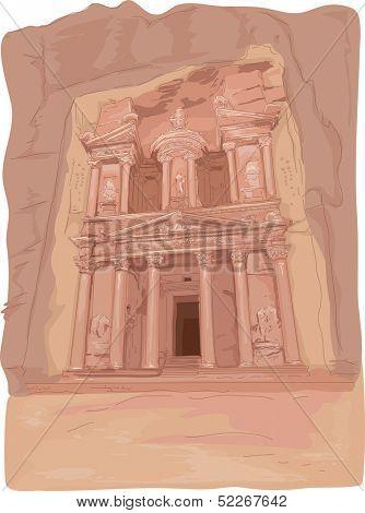 Illustration Featuring the Al Khazneh Temple in Petra, Jordan