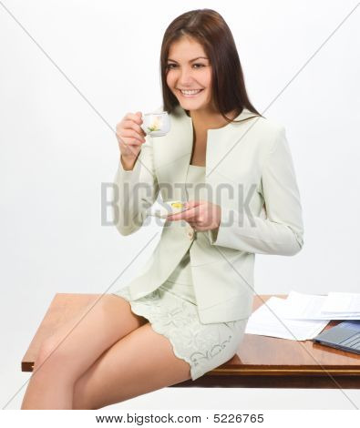 Businesswoman With Cap Of Coffee