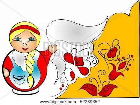 Decorative Background With Doll Matreshka