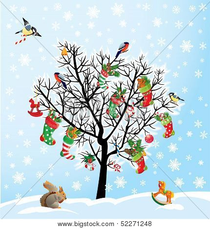 Winter Tree With Birds, Squirrel, Xmas Shoes, Candies And Presents. Christmas And New Year Card.