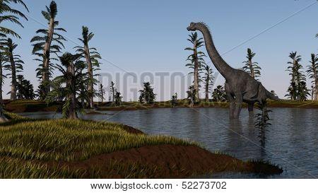 brachiosaurus in lake