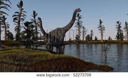 brachiosaurus in lake water near the shore