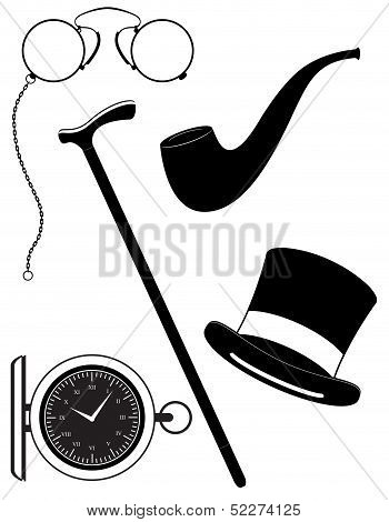 Retro Mens Accessories 19Th Century Black Silhouette Vector Illustration