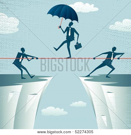 Abstract Businessmen Pulling together on a cliff.