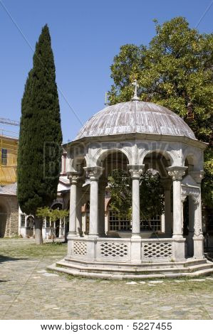Rotunda And Cypress, Monastery Iviron, Athos