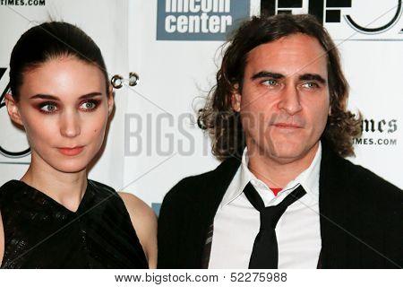NEW YORK-OCT 12: Actor Joaquin Phoenix (R) and Rooney Mara attend