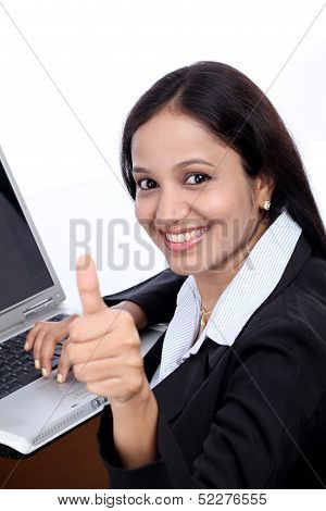 Happy Young Buisiness Woman Showing Thumbs Up