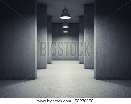 Architectural design of corridor with lamps