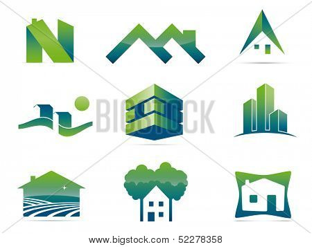 Real Estate Vector Symbols. Set of nine stylish realty and construction icons, easily editable with global color swatches.