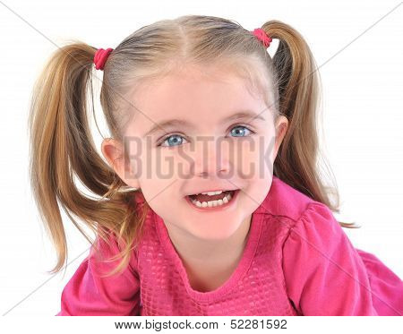 Cute Little Girl On White Isolated Background