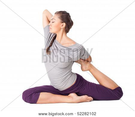 Young Woman Doing Yoga Asana One Legged King Pigeon Isolated On White Background