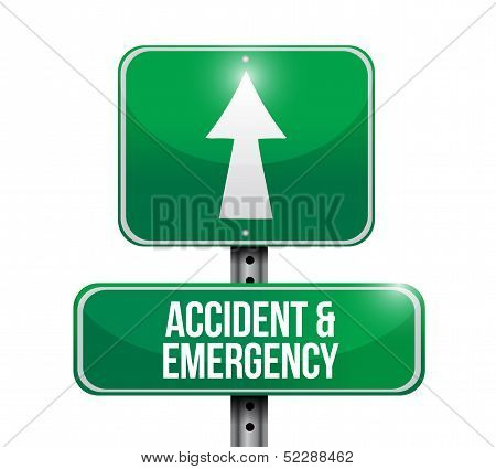 Accident And Emergency Road Sign Illustration