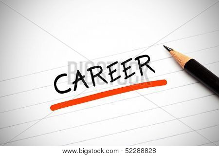 The word career written on a notepad with a pencil and underlined in red