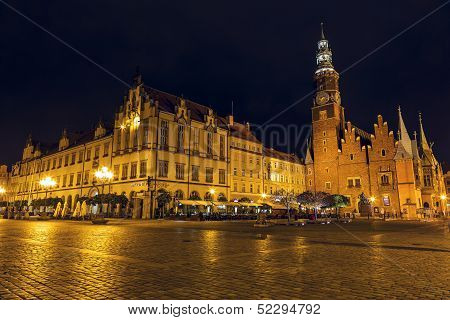 Old And New Town Hall By Night In Wroclaw