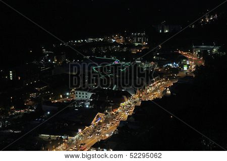 Aerial Night View Of The Main Road Through Gatlinburg, Tennessee