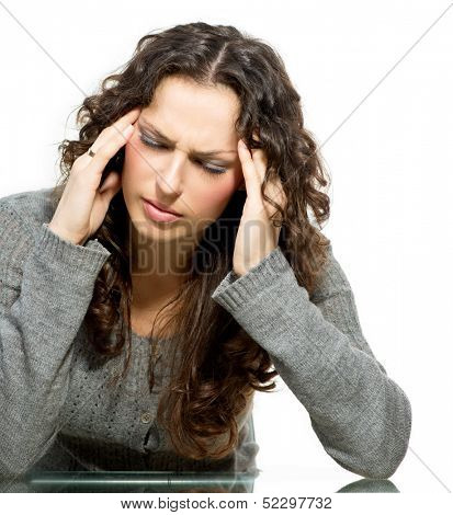 Headache. Woman Woman having Headache. Sick. Unhealthy Girl portrait isolated on a white background