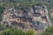 stock photo of dalyan  - Kaunian rock tombs in Dalyan - JPG