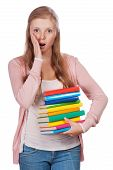 Cute Young Attractive Student Girl Holding Colorful Exercise Books.