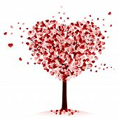 stock photo of cutting trees  - Love tree with hearts on white background - JPG