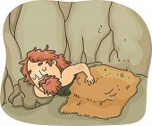 foto of cave-dweller  - Illustration of a Caveman Soundly Sleeping Under a Wooly Blanket - JPG