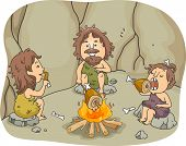 stock photo of caveman  - Illustration of a Caveman Family Eating Chunks of Meat Together in Front of a Bonfire - JPG