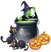 stock photo of witches cauldron  - Halloween cartoon witch scene with a witch her black cats Happy Halloween cauldron and pumpkins - JPG