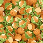 stock photo of cobnuts  - Vector seamless background with beige and brown hazelnuts - JPG
