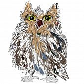 Owl on a white background, symbol of Halloween, vector illustration. Illustration for t-shirt.