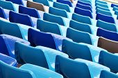 Blue plastic seat in stadium