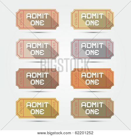 Vector Paper Admit One Ticket Illustration Set
